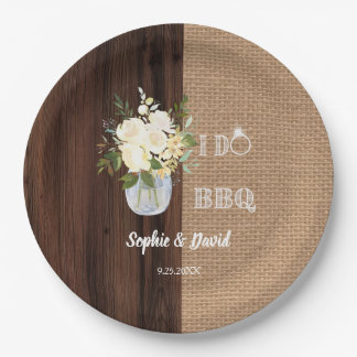 Rustic Floral Burlap Old Barn I DO Barbecue Paper Plate