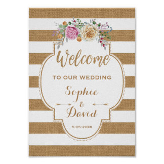 Rustic Floral Burlap Stripes Wedding WELCOME SIGN