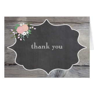 Rustic Floral Chalkboard Thank You Notes Note Card