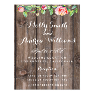 Rustic floral Country party/wedding PROGRAM Flyer