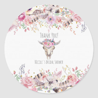 Rustic Floral Cow Skull Boho Chic Country Glam Classic Round Sticker