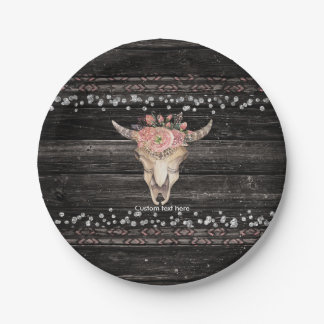Rustic Floral Cow Skull Boho Chic Custom Party 7 Inch Paper Plate