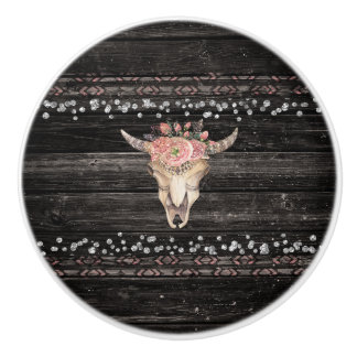 Rustic Floral Cow Skull Boho Chic Glam Silver Wood Ceramic Knob
