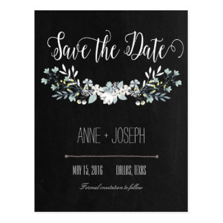 Rustic Floral dark Save the Date III Postcard