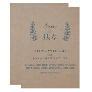 Rustic Floral | Faux Kraft Save The Date Card