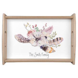 Rustic Floral & Feathers Boho Chic Country Glam Serving Tray