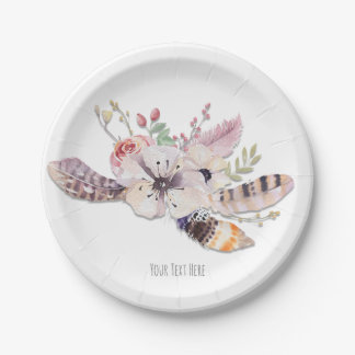 Rustic Floral & Feathers Boho Chic Party Paper Plate