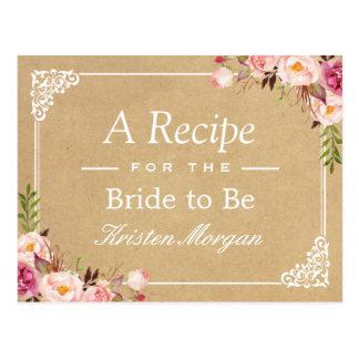 Rustic Floral Frame Kraft Bridal Shower Recipe Postcard