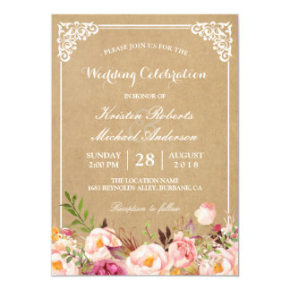 Rustic Floral Frame Kraft | Wedding Celebration 13 Cm X 18 Cm Invitation Card