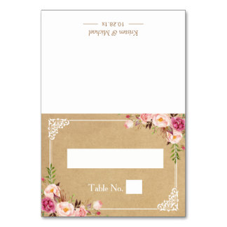 Rustic Floral Frame Kraft Wedding Seating Place Card