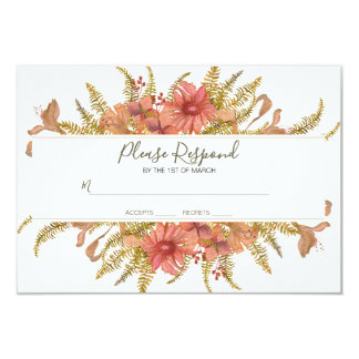Rustic Floral Frame Please Respond By Card