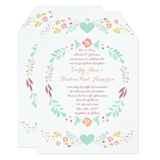 Rustic Floral Garland Folk Art Marsala Wedding Card