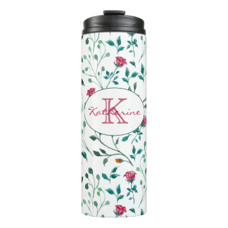 Rustic Floral & Green Foliage Pattern | Monogram Thermal Tumbler