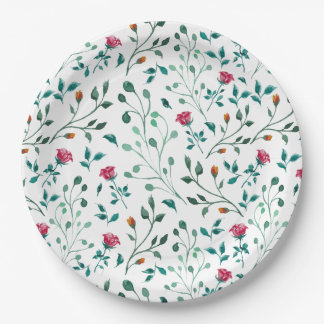 Rustic Floral & Green Foliage Pattern Paper Plate