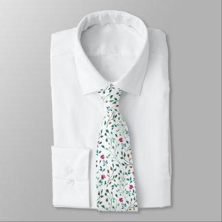 Rustic Floral & Green Foliage Pattern | Wedding Tie