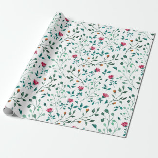 Rustic Floral & Green Foliage Pattern Wrapping Paper