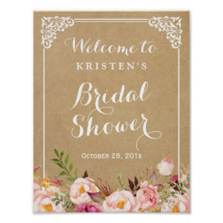 Rustic Floral Kraft Look | Bridal Shower Sign