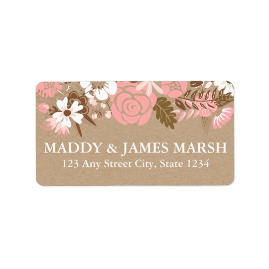 Rustic Floral Kraft Paper Wedding Address Label