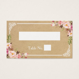 Rustic Floral Kraft Wedding Escort Seating Place Business Card