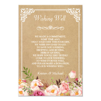 Rustic Floral Kraft Wedding Wishing Well Card