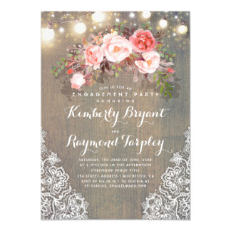Rustic Floral Lace Lights Wood Engagement Party Card