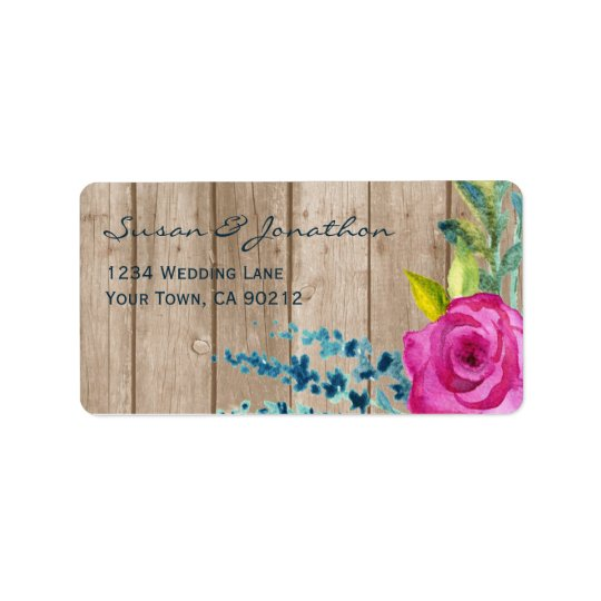 Rustic Floral Painted Wood Label