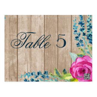 Rustic Floral Painted Wood Wedding Table Number Postcard