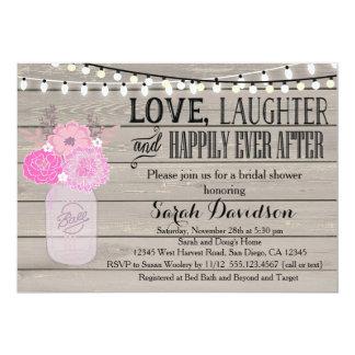Rustic Floral Pink Blush Bridal Shower Invitation