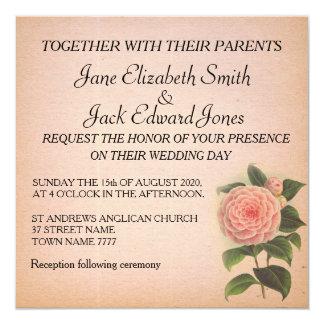 Rustic Floral Pink Pretty Camellia Wedding invite
