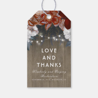 Rustic Floral Plum and Burgundy Barn Wedding Gift Tags