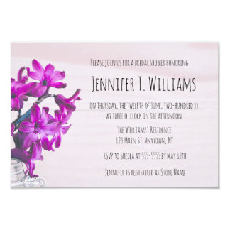 Rustic floral purple bridal shower invitations
