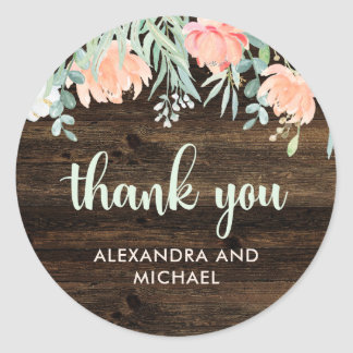 Rustic Floral Romance Wedding | Thank You Classic Round Sticker