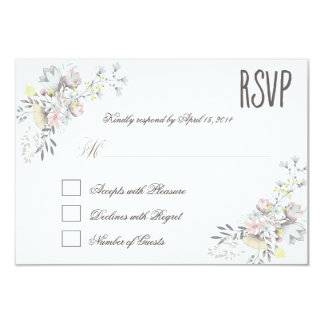 Rustic Floral RSVP II 9 Cm X 13 Cm Invitation Card