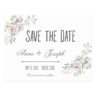 Rustic Floral Save the Date II Postcard