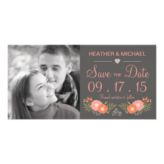 Rustic Floral Save the Date Personalised Photo Card