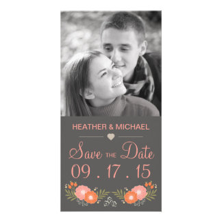 Rustic Floral Save the Date Photo Greeting Card