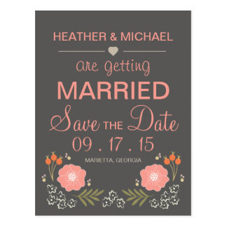 Rustic Floral Save the Date Postcard