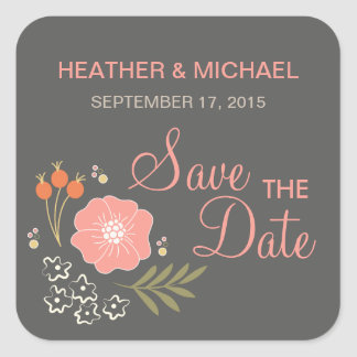 Rustic Floral Save the Date Square Sticker