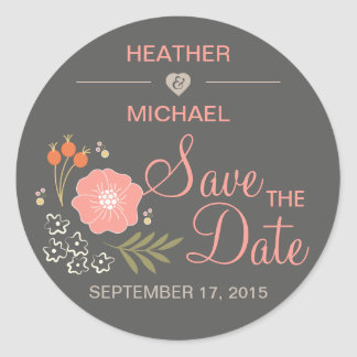 Rustic Floral Save the Date Stickers