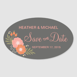 Rustic Floral Save the Date Oval Sticker
