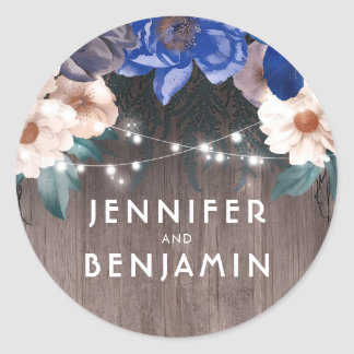 Rustic Floral String Lights Barn Navy Fall Wedding Round Sticker