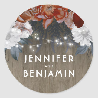 Rustic Floral String Lights Barn Wedding Classic Round Sticker