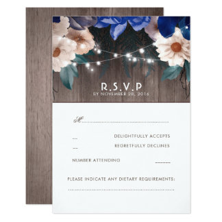 Rustic Floral String Lights Blue Wedding RSVP Card