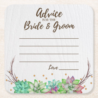 Rustic Floral Succulent Advice for Bride & Groom Square Paper Coaster