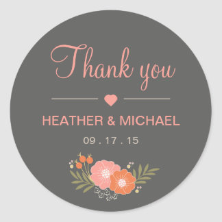 Rustic Floral Thank You Round Sticker