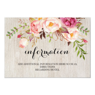Rustic Floral Wedding Information/Details 2-Side Card