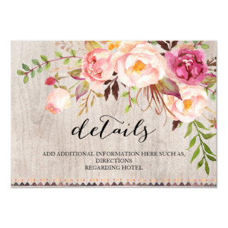 Rustic Floral Wedding Information/Double-Sided Card