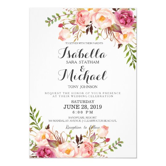 Rustic Floral Wedding Invitation Zazzle Com Au