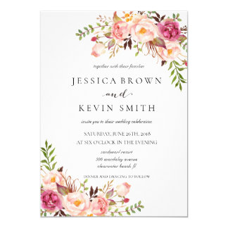 Rustic Floral Wedding Invitation-02 Card
