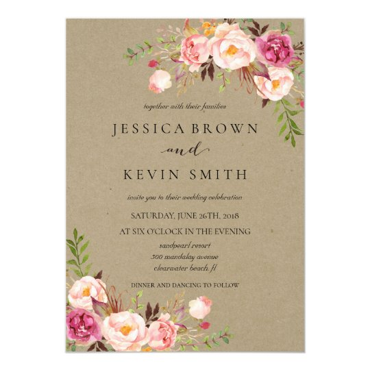 Rustic Floral Wedding Invitation-04 Card